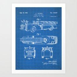 Fire Truck Patent - Aerial Fireman Truck Art - Blueprint Art Print