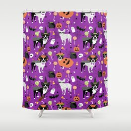 Boston Terrier Halloween - dog, dogs, dog breed, dog costume, cosplay cute dog Shower Curtain