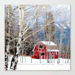 Montana Barn in Winter Canvas Print