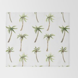 Watercolor palm trees pattern Throw Blanket