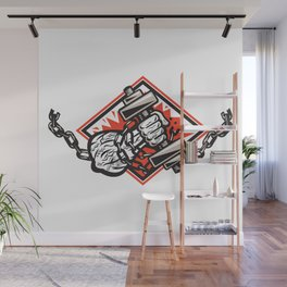 Hand Bursting With Dumbbell In Chains Wall Mural