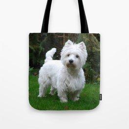 Westie in the garden Tote Bag