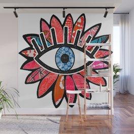 Greek Evil Eye Pink Flower Wall Mural