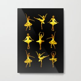 Watercolor Ballerinas (Black and Yellow) Metal Print