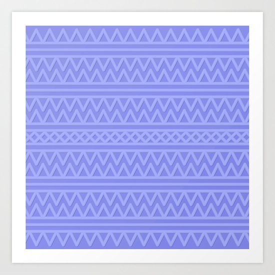 Pale Blue Aztec Style Art Print