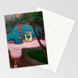 Best Friends Dancing at Sunset during Summer at the Beach landscape by Edward Munch Stationery Cards