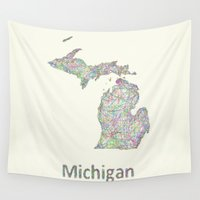 michigan Wall Tapestries featuring Michigan map by David Zydd