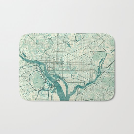 Washington Map Blue Vintage Bath Mat
