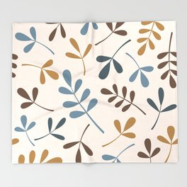 Assorted Leaf Silhouettes Blues Brown Gold Cream Throw Blanket