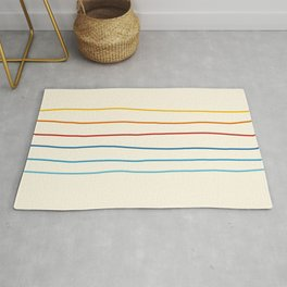 Bright Classic Abstract Minimal 70s Rainbow Retro Summer Style Stripes #1 Rug