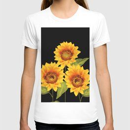 Three Sunflowers black Background T-shirt