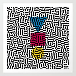 Instable Equilibrium Abstract Primitivism Art Pattern by Emmanuel Signorino Art Print