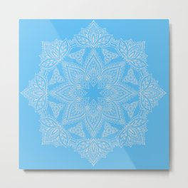 Mandala White on Periwinkle Blue Bohemian décor Metal Print