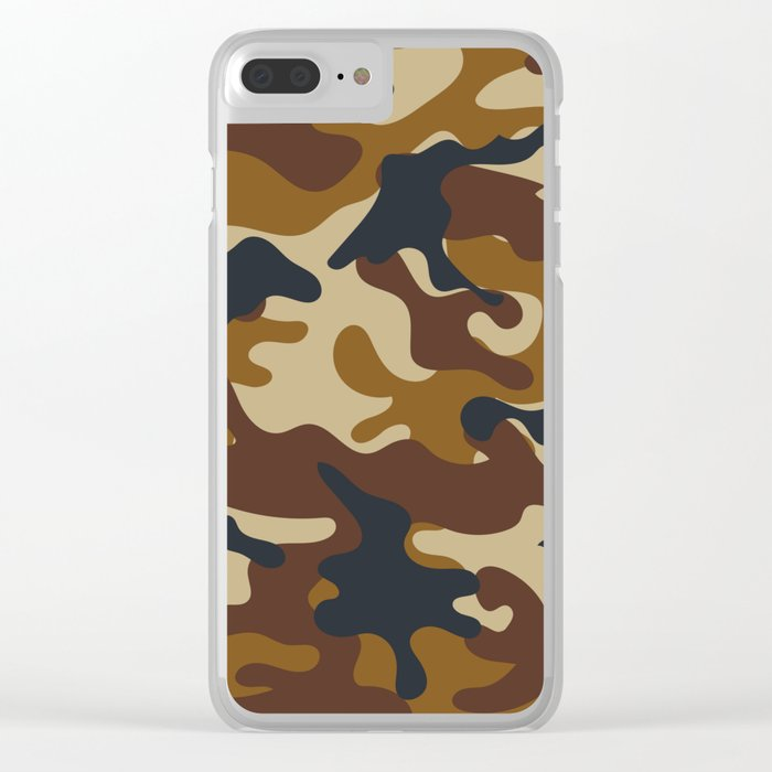 Brown Army Camo Camouflage Pattern Clear iPhone Case