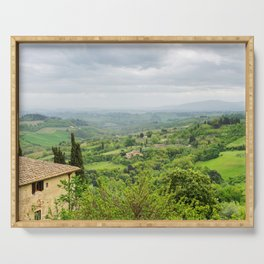 Beautiful spring froggy landscape in Tuscany countryside, Italy Serving Tray
