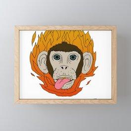Monkey on fire Framed Mini Art Print