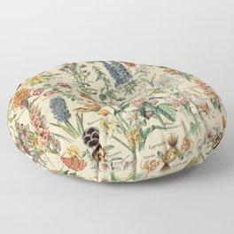 French Vintage Flowers Chart Adolphe Millot Fleurs Larousse Pour Tous  Floor Pillow