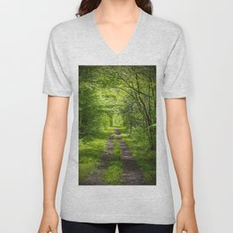 Trail Through Green Woods Unisex V-Neck