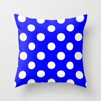 polka dots Throw Pillows featuring Polka Dots (White/Blue) by 10813 Apparel