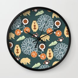 Bikes, bears and flowers Wall Clock