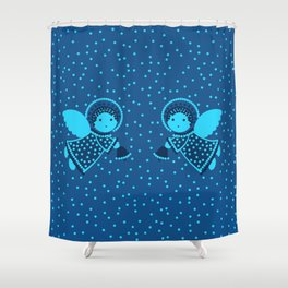 Angels on the deep blue Shower Curtain