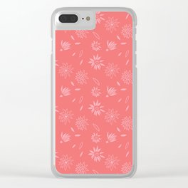 Coral Pink Flora Pattern 2 Clear iPhone Case