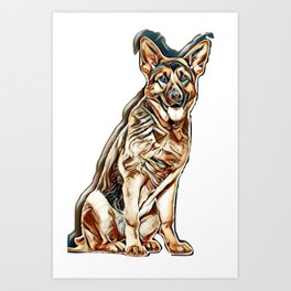 German Shepherd dog sitting and panting, isolated        - Image Art Print