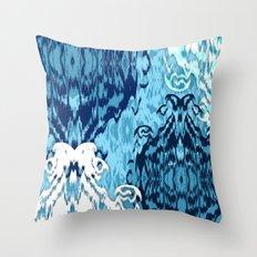Ikat Medallions: Blue Throw Pillow