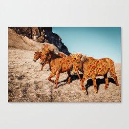 Wild Horses On Flowers Canvas Print