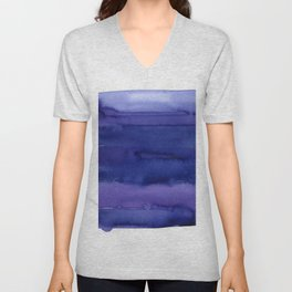Blue Violet Watercolor Horizontal Stripes Abstract Unisex V-Neck