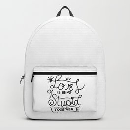 Simple Black and White Hand Drawn Love Quote Backpack