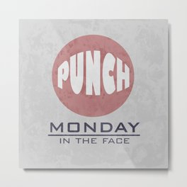 Punch Monday in the face - Red, Blue & Gray Metal Print