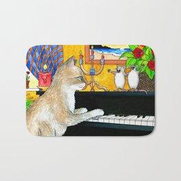 Cat Playing piano Bath Mat