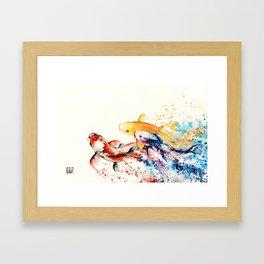 Underwater rainbow : the goldfishes Framed Art Print