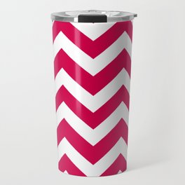Spanish carmine - fuchsia color - Zigzag Chevron Pattern Travel Mug