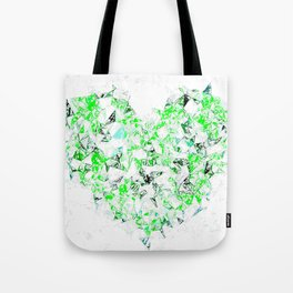 green heart shape abstract with white abstract background Tote Bag