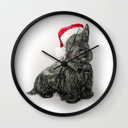 Santa Scottie Dog Wall Clock