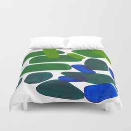 Mid Century Vintage Abstract Minimalist Colorful Pop Art Phthalo Blue Lime Green Pebble Shapes Duvet Cover