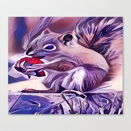 Squirrel Eating a Berry Canvas Print