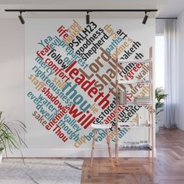 Christian Psalm 23 Colorful Word Art Wall Mural