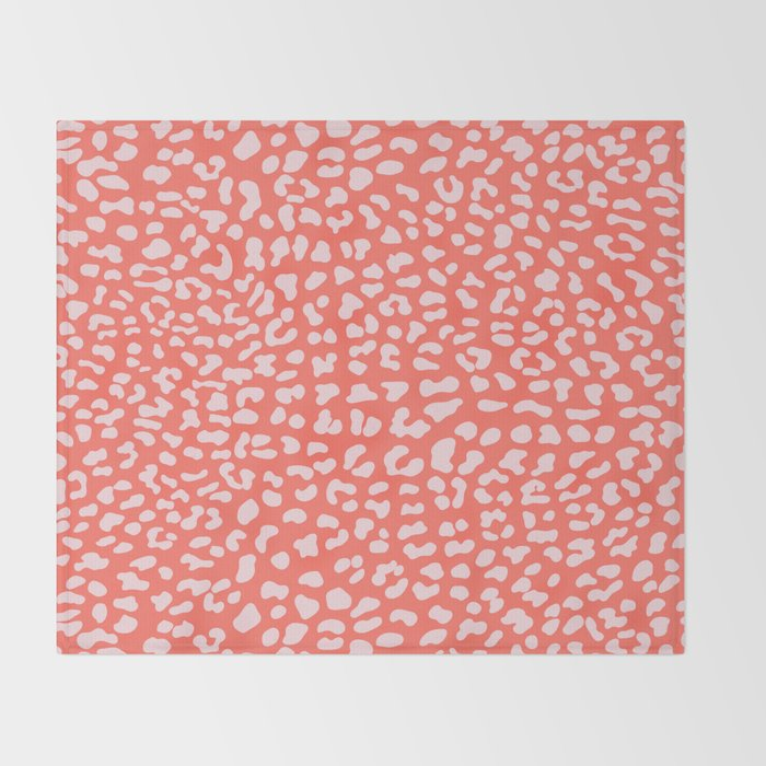 Faux Leopard on Living Coral Throw Blanket