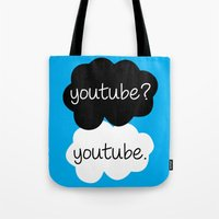 youtube Tote Bags featuring YouTube? by samonstage_lyrics