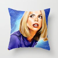 bad wolf Throw Pillows featuring Bad Wolf by Regenerated Arts
