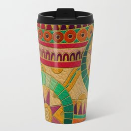 Colorful Tribal Ethnic  Pattern Embossed on Leather Travel Mug