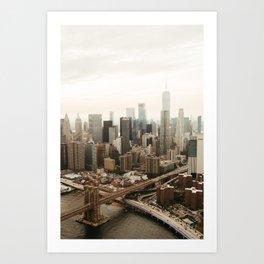 NYC Skyline and the Brooklyn Bridge Art Print