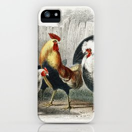 Game Cock, Silver Spangled, White Feathered Bantam Hen, Dorking Hen, Black Polish Hen, Malay Cock, a iPhone Case