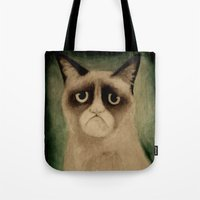 grumpy Tote Bags featuring Grumpy! by Colunga-Art