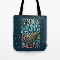 river song Tote Bags featuring MOON RIVER by Matthew Taylor Wilson