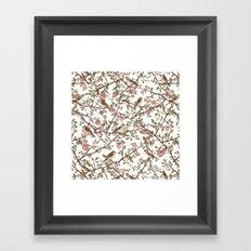 Sparrow Tree - Seamless Pattern Framed Art Print