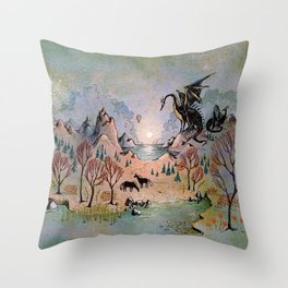Dragon Hills Throw Pillow